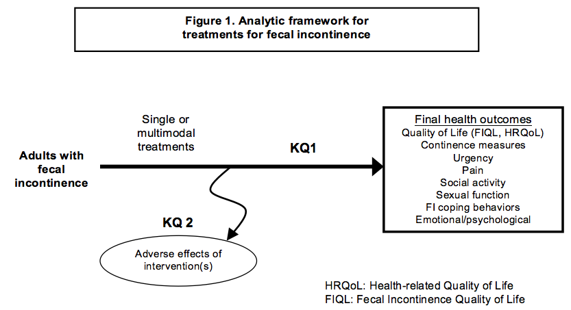 Figure 1 depicts the two key questions within the context of the PICOTS described in Section II above. The figure illustrates how the use of single or multimodal treatments for fecal incontinence may improve outcomes for adults with fecal incontinence. The patients for this study are adults with fecal incontinence. The Key Question 1 final health outcome categories include quality of life (health-related or specific to fecal incontinence), continence measures, urgency, pain, social activity, sexual function, the use of coping behaviors to manage fecal incontinence, and emotional or psychological measures. Adverse effects of drugs or interventions may also occur at any point after the treatment is initiated; these will be examined in Key Question 2.