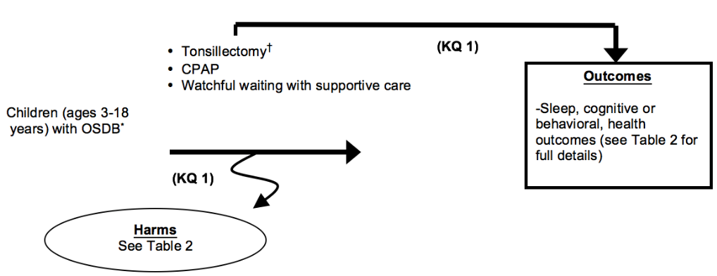 Figure 1 depicts Key Question 1 within the context of the patient, intervention, comparator, and outcomes (PICOS) parameters described in the document. Children between the ages of 3 and 18 years with obstructive sleep-disordered breathing (OSDB) may undergo tonsillectomy (which includes tonsillectomy, adenotonsillectomy, or partial tonsillectomy) or other treatment (medical treatments, CPAP). Outcomes resulting from treatment may include changes in sleep measures; cognitive or behavioral changes; changes in health outcomes; changes in health care utilization; and persistence of OSDB. Harms may occur at any point after the intervention is received and may include emergency room visits for bleeding, pain, dehydration, and nausea and vomiting.