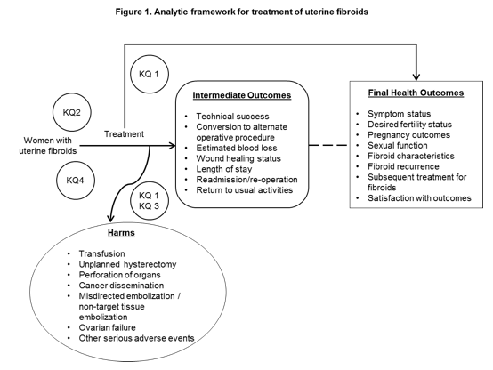 This figure illustrates the Key Questions (KQs) within the context of the population (women with uterine fibroids), and intervention (medical, surgical, or procedural treatment). KQ 1 addresses the potential benefits and harms of treatment (i.e., medical, surgical or operative) when compared with an alternate treatment or inactive control (e.g., placebo, expectant management, sham procedure) for women with uterine fibroids. KQ 2 and KQ 4 examine the role of patient characteristics and fibroid characteristics on the final health outcomes (KQ 2) or harms (KQ 4) associated with interventions. KQ 3 examines the occurrence of harms in women following morcellation of uterine fibroids. Treatment benefits (intermediate and final health outcomes) and harms occur subsequent to intervention. Intermediate outcomes (in rounded-edge box) may include: technical success; conversion to alternate operative procedure; estimated blood loss; wound healing status; length of stay; readmission/re-operation; and return to usual activities. Final health outcomes (in box) may include: symptom status, desired fertility status; pregnancy outcomes; sexual function; fibroid characteristics; fibroid recurrence; subsequent treatment for fibroids; and satisfaction with outcomes. The figure depicts potential harms (in oval) (e.g., transfusion; unplanned hysterectomy; perforation of organs; cancer dissemination; misdirected embolization / non-target tissue embolization; ovarian failure; and other serious adverse events) that may be associated with interventions to manage uterine fibroids.