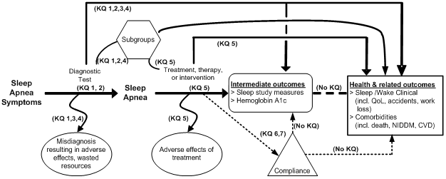 Alternate Text: This figure depicts the key questions within the context of the PICOTS described in the previous section. In general, the figure illustrates how alternative diagnostic tests and treatments may result in intermediate outcomes such as sleep study measures and hemoglobin A1c and health and related outcomes such as quality of life, accidents, work loss, death, non-insulin dependent diabetes mellitus, and cardiovascular disease. Also, adverse events may occur at any point after the diagnostic test is used or treatment is received.