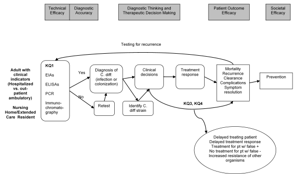 The figure lays out the clinical path for patients with the potential to develop CDAD, from diagnostic laboratory tests, through their impact on treatment decisions, to finally implications for prevention strategies and locates the key questions of this review within the context of the framework. (The following section will provide a more detailed discussion of the key questions.) Diagnostic testing has two parts, the technical efficacy of the tests and diagnostic accuracy. Technical efficacy is outside the scope of this review; rather, we focus key question 1 on the comparative diagnostic accuracy of rapid tests, such as EIAs or polymerase chain reaction (PCR), which may reduce the time lapse between patient symptom onset and laboratory confirmation of CDAD and treatment decisions. When a patient is treated for CDAD, whether an initial case, a relapse, or recurrence, the clinical outcomes of interest establish the patient treatment efficacy. Of particular interest to key question 3 will be the comparative effectiveness of standard active treatments used for CDAD, particularly vancomycin and metronidazole. For key question 4, the clinical question of interest is what non-standard treatments are being utilized, and their efficacy, particularly for recurrent CDAD. After diagnostic accuracy, and treatment, and patient outcome efficacy comes prevention, which is a societal level efficacy measure, as the benefits of prevention of infectious disease can extend beyond the individual patient. This is the area of focus for key question 2. Key question 4 also contributes to this area to the extent that non-antibiotic treatments assist a patient in fending off an infection.
