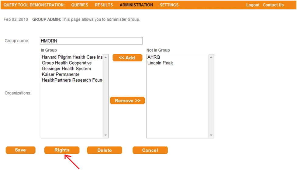 This screen shot depicts the user interface that allows administrators to assign rights to a particular group.