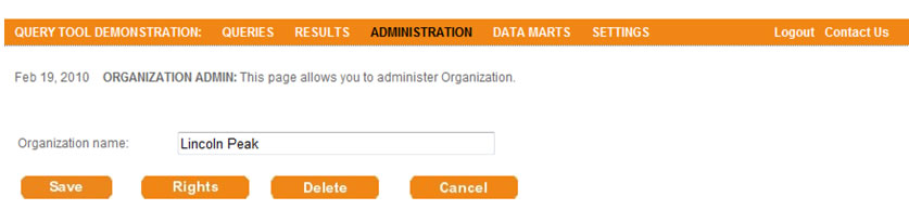 This screen shot depicts the user interface used to create a new organization.