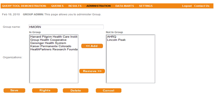 This screen shot depicts the user interface used to add organizations to a group.