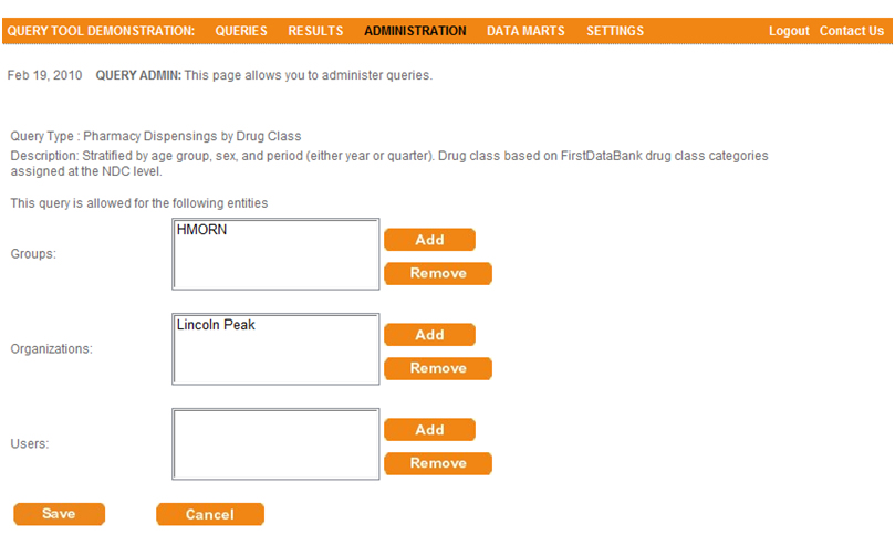 This screen shot depicts the user interface used to allow access to individual entities for a particular query type (pharmacy dispensings by drug class).