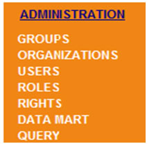 This screen shot depicts the menu options available to administers under the 'Administration' link.