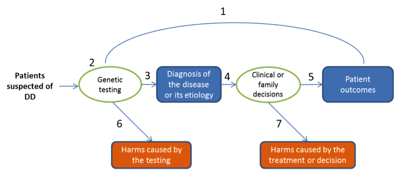 Figure 1. Evaluation Framework for Genetic Tests for Diagnosing DDs This figure depicts the key research questions that need to be addressed in evaluating the clinical utility of a genetic test for developmental disabilities. These questions include: Question 1 (Overarching Question): Does use of a genetic test lead to improved health outcomes in patients with DDs compared to the standard-of-care diagnostic strategy? Question 2: Does the test have adequate analytic validity? Question 3: Does the test have adequate clinical validity? Question 4: Does use of the test have any impact on treatment decision making by clinicians or patients? Question 5: Does the treatment lead to improved patient outcomes? Question 6: Are there harms associated with use of the test? Question 7: Are there harms associated with the treatment?