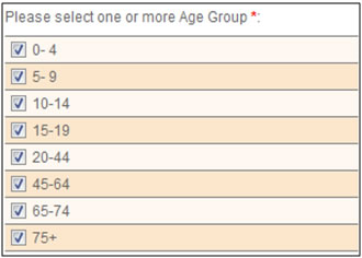 This screen shot shows how users may select different age ranges by which to stratify their result sets.