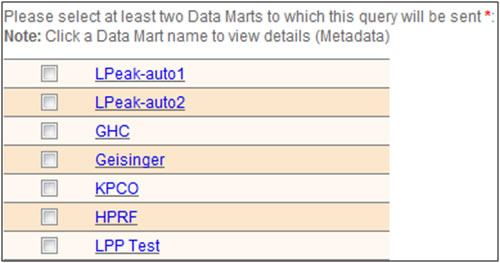 This screen shot shows how users may select which Data Marts to include in their queries. Clicking on the hyperlink for a particular Data Mart will display that Data Mart's meta data.