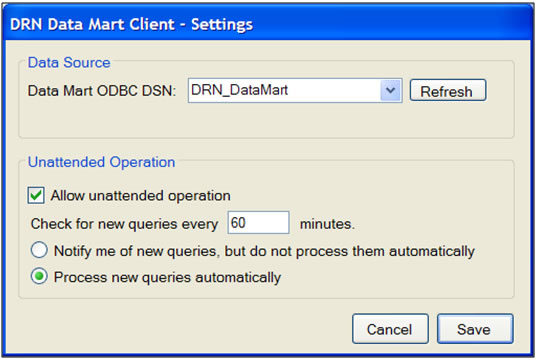 This screen shot shows the settings popup for the Data Mart Client. Users can set the Client to unattended or notify mode in this interface.