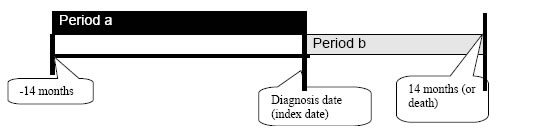 Figure 1 shows the time period under observation for both prospective and retrospective cohorts. 1a deals with the prospective cohort. Period a, which is used to define baseline patient, physician, and hospital characteristics, consists of the 14 months prior to the diagnosis date (index date). Period b, which is used to define most benchmarks, consists of the period after the diagnosis date. It ends either at 14 months after the diagnosis date or, if death comes before that time, with death.