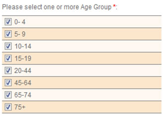 This screen shot depicts the user interface that allows investigators to select the age groups by which the query are stratified.