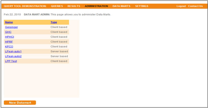 This screen shot displays the portal screen where users can click to view information on each of the Data Marts in the system.