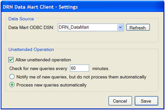 This screen shot depicts the settings dialog box for the DataMart Client.