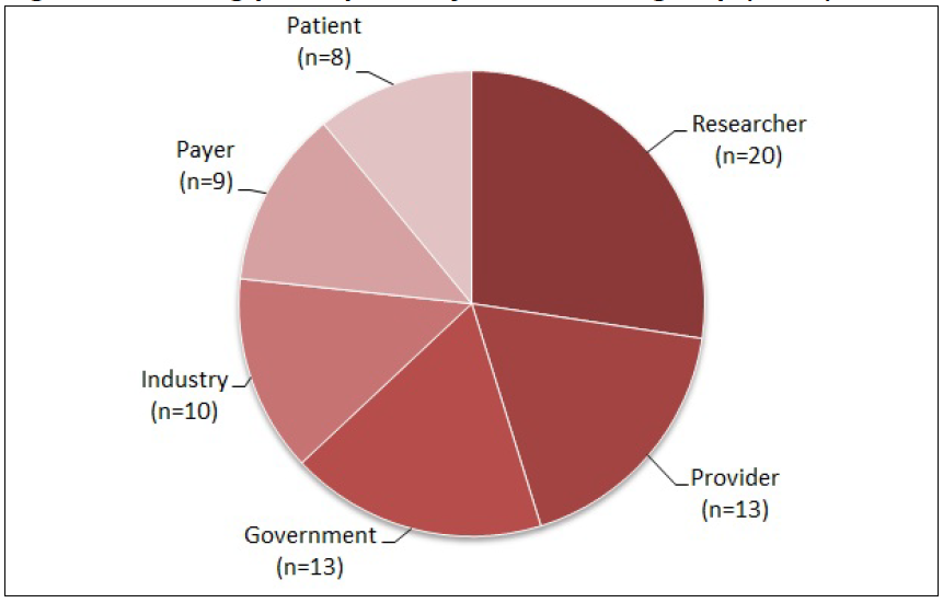 Figure 1 is a pie chart divided into six stakeholder groups, depicting the number of participants from each group that attended the stakeholder meeting in March 2012. There were 20 researchers, 13 healthcare providers, 13 government representatives, 10 industry representatives, 9 payers, and 8 patient representatives, for a total of 73 participants.