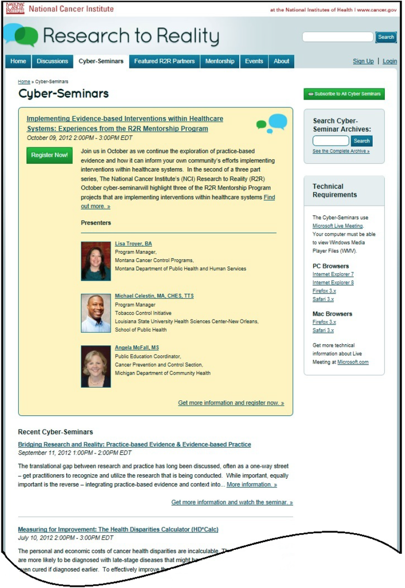 Options for Developing a Web-based Forum on Patient Registries