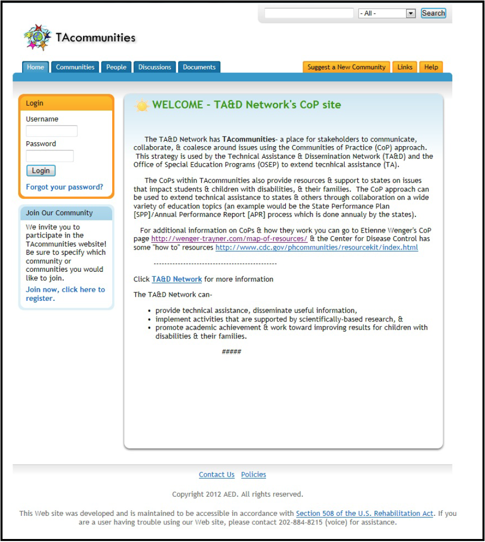 Figure E-1 is a screenshot of the TAcommunities Home Page. From this page you can see tabs to navigate to other areas of the Web site, including Communities, People, Discussions, Documents, Suggest a New Community, Links, and Help. The Home page features a login area for members, a link to join the community, and a brief description of the CoP's purpose and structure.