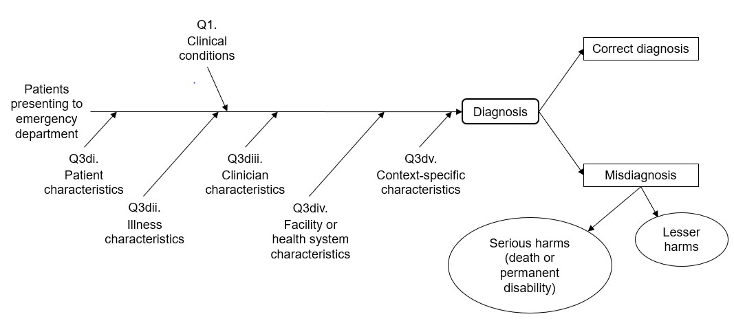 Figure 1 displays our analytic framework. Patients present to the emergency department and they receive a diagnosis. There are several factors that influence the diagnosis, including clinical conditions, patient characteristics, illness characteristics, clinician characteristics, facility or health system characterisitcs, and context-specific characteristics. The diagnosis is either correct or not correct. Misdiagnoses can lead to either serious harms (e.g., death or permanent disability) or to lesser harms.