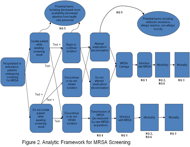 The figure depicts the effects of MRSA screening in detail. Once screened, patients may or may not be isolated while awaiting screening results. Once the screening test results are received, patients who screen positive may be isolated; patients who screen negative are not. Eradication/decolonization may be attempted in patients who screen positive. Intermediate outcomes of MRSA screening, including MRSA transmission and infection, are depicted in the figure. Health outcomes, including morbidity and mortality, are also depicted. The figure illustrates the potential harms of screening, including decreased room availability, decreased attention from health care personnel, antibiotic resistance, allergic reactions, and nonallergic toxicity.