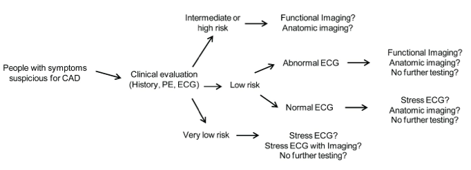 This figure is a flow diagram that provides an overview of the conceptual flow for initiating noninvasive testing based on risk assessment following the initial clinical evaluation. The diagram delineates the most common general decision points and options for the use of noninvasive testing based on risk assessment. At each decision point in the diagram, an arrow points to the next step or steps in the process. When a person presents with symptoms suspicious for coronary artery disease (CAD) (far left of diagram) they undergo a clinical evaluation which consists of a physical exam, history, and a resting electrocardiogram (ECG). Based on the results of the clinical evaluation, a person will be categorized into one of three pre-test risk categories: intermediate or high risk, low risk, or very low risk. Those considered to be at intermediate or high risk go on to have either functional or anatomic imaging. For those considered to be at low risk, the type of testing they receive depends on their resting ECG results. If their ECG was abnormal, functional imaging, anatomical imaging, or no further testing are considered; if their ECG was normal, stress ECG, anatomic imaging, or no further testing are considered. Lastly, those at very low risk go on to have stress ECG either with or without imaging or no futher testing.