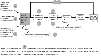 This figure depicts the key questions within the context of the PICO below. In general, the figure illustrates how different types of patients (adults with symptoms suspicious of pancreatic adenocarcinoma, adults with known pancreatic adenocarcinoma, and asymptomatic adults with familial or genetic risk of pancreatic adenocarcinoma) can undergo different imaging tests (MDCT angiography, other MDCT, PET-CT, MRI, or EUS-FNA), resulting in the intermediate outcomes of diagnostic and staging accuracy. Tests are intended to influence clinical management, and treatment is intended to improve (if possible) patient-oriented outcomes of survival and quality of life. Also, procedural harms of the imaging procedures may occur.