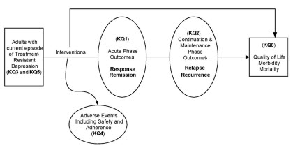Based on the key questions, we developed an analytic framework to guide the systematic review (Exhibit 3-1). Specifically, the first two key questions pertain to the efficacy and effectiveness of obtaining (KQ1) and maintaining (KQ2) response and remission using these non-pharmocologic treatments – where KQ1 addresses the acute phase and KQ2 the continuation or maintenance phase. KQ3 addresses response and remission for psychiatric subtypes of treatment-resistant depression (e.g., coexisting anxiety), and KQ5 focuses on the specific subgroups (e.g., the elderly). KQ4 focuses on safety issues (adverse effects, adherence) with each of the interventions. Finally, KQ6 looks at how these interventions affect other health outcomes, such as quality of life.