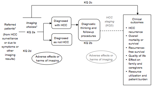 This figure maps Key Question 2 and its subquestions on HCC diagnosis within the context of the PICOS criteria (Population, Intervention, Comparator, Outcome, Setting). In general, the figure illustrates how diagnosis occurs within the population of interest--patients with an abnormal lesion suspicious for HCC who need confirmation of the diagnosis of HCC. These patients could arrive at a diagnosis through routine imaging surveillance or through clinical presentation with signs and symptoms suggestive of HCC. The HCC staging phase, which follows diagnosis, forms part of the causal linkage with clinical outcomes; it is shown in grayed-out text. Surveillance is addressed by Key Question 1 and staging by Key Question 3. In addition, the figure depicts adverse events or harms as being associated with testing and with followup procedures. It is noted that the available imaging techniques can be used singly or in specific sequence, with or without biomarkers used as modifiers.