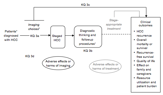 This figure maps Key Question 3 and its subquestions on staging HCC within the context of the PICOS criteria (Population, Intervention, Comparator, Outcome, Setting). In general, the figure illustrates how the population of interest--patients in whom HCC has been diagnosed--are staged prior to treatment. The phases of surveillance and diagnosis are addressed by Key Question 1 and 2, respectively. The figure depicts adverse events or harms as being associated with testing or stage-appropriate treatment. It is noted that the available imaging techniques can be used singly or in specific sequence, with or without biomarkers used as modifiers.