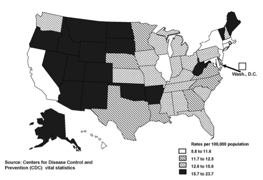 A map of the United States identifying suicide rates by state. Map generated by CDC WISQARS.