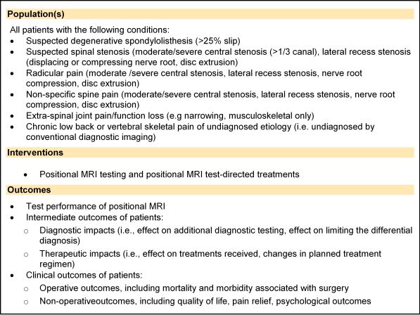 Text Box: Population(s) All patients with the following conditions: • Suspected degenerative spondylolisthesis (>25% slip) • Suspected spinal stenosis (moderate/severe central stenosis (>1/3 canal), lateral recess stenosis (displacing or compressing nerve root, disc extrusion) • Radicular pain (moderate /severe central stenosis, lateral recess stenosis, nerve root compression, disc extrusion) • Non-specific spine pain (moderate/severe central stenosis, lateral recess stenosis, nerve root compression, disc extrusion) • Extra-spinal joint pain/function loss (e.g narrowing, musculoskeletal only) • Chronic low back or vertebral skeletal pain of undiagnosed etiology (i.e. undiagnosed by conventional diagnostic imaging) Interventions • Positional MRI testing and positional MRI test-directed treatments Outcomes • Test performance of positional MRI • Intermediate outcomes of patients: o Diagnostic impacts (i.e., effect on additional diagnostic testing, effect on limiting the differential diagnosis) o Therapeutic impacts (i.e., effect on treatments received, changes in planned treatment regimen) • Clinical outcomes of patients: o Operative outcomes, including mortality and morbidity associated with surgery o Non-operativeoutcomes, including quality of life, pain relief, psychological outcomes