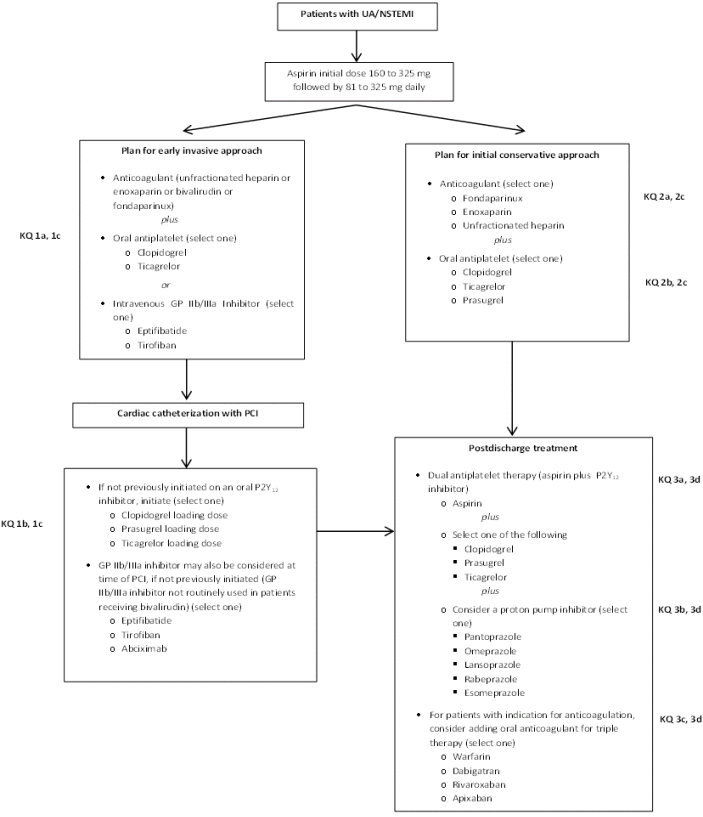 This figure illustrates the treatment strategy algorithm for patients with UA/NSTEMI that is considered in this comparative effectiveness review. All patients presenting with UA/NSTEMI are treated with an initial dose of aspirin 160 to 325 mg followed by 81 to 325 mg daily. The first treatment option considered is the early invasive approach, which consists of an intravenous glycoprotein IIb/IIIa inhibitor versus oral antiplatelet agent as initial therapy prior to going to the catheterization laboratory. After catheterization with percutaneous coronary intervention, the next stage of the early invasive approach considers the optimal drug dose, timing, and safety for coadministration of antiplatelet agents in patients to improve cardiovascular outcomes. Also considered is whether the effectiveness or safety changes based on which initial anticoagulant is used. The second treatment option considered is the initial conservative approach, which consists of using different anticoagulants to improve cardiovascular outcomes in patients with UA/NSTEMI. Also considered are the comparative effectiveness, comparative safety, and optimal drug dose and timing of different antiplatelet agents. The third treatment option for patients with UA/NSTEMI is during the postdischarge phase of treatment. This approach considers the comparative effectiveness, comparative safety, and optimal duration of the available oral antiplatelet agents; the optimal dose and safety of aspirin for patients who are also receiving another oral antiplatelet agent; and the comparative effectiveness and comparative safety of proton pump inhibitors (PPIs) for reducing bleeding events in patients receiving dual antiplatelet therapy following UA/NSTEMI. Also considered, in patients with an indication for long-term oral anticoagulant therapy, are the comparative effectiveness and comparative safety of triple therapy with aspirin, an oral antiplatelet agent, and anticoagulants versus treatment with aspirin and an oral antiplatelet agent in preventing recurrent ischemic events.